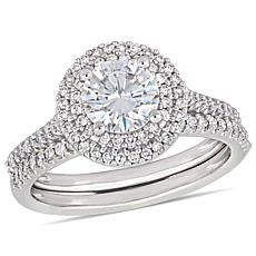 14K White Gold Round Moissanite & Diamond Double Halo Bridal Ring Set