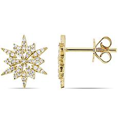 14K Yellow Gold 0.17ctw Diamond Starburst Stud Earrings