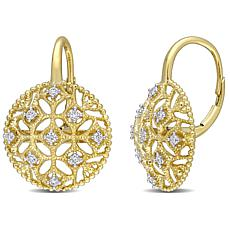 14K Yellow Gold 0.20ctw Diamond Openwork Leverback Earrings