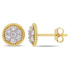 14K Yellow Gold 0.50 ctw Diamond Round Stud Earrings