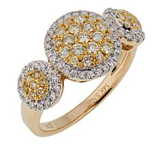 14K Yellow Gold 0.51ctw Yellow and White Diamond Ring