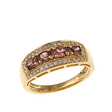 14K Yellow Gold 0.92ctw Pink Zircon and Diamond Band Ring