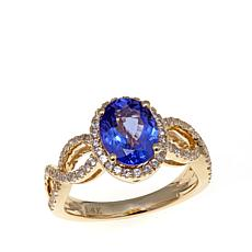 14K Yellow Gold 2.21ctw Oval Tanzanite and Zircon Ring