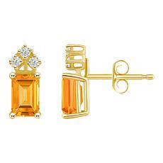 14K Yellow Gold 6x4mm Emerald-Cut Gemstone and 3-Diamond Stud Earrings