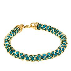"14K Yellow Gold and Turquoise Beaded 7-3/4"" Bracelet"