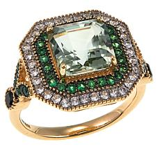 14K Yellow Gold Asscher-Cut Gem, Black Spinel and White Zircon Ring