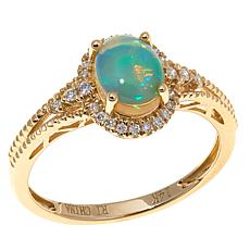 14K Yellow Gold Ethiopian Opal & Diamond Milgrain Ring