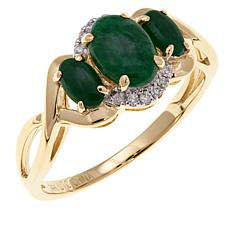 14K Yellow Gold Green Jade and Diamond Scrollwork Ring