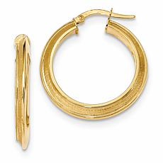 14K Yellow Gold Polished and Satin Hoop Earrings