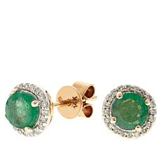 14K Yellow Gold Round Gemstone and Diamond Studs