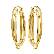 14K Yellow Gold Satin and Polished Oval Hoop Earrings