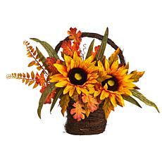 "16"" Fall Sunflower in Decorative Basket"