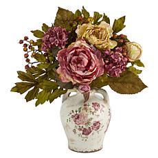 16 in. Peony Artificial Arrangement in Flower Print Jar