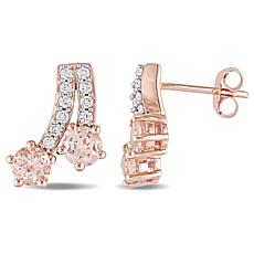 1.60ctw Pink Morganite and Diamond 10K Earrings