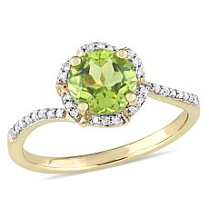 1.62ctw Peridot and Diamond 14K Yellow Gold Ring