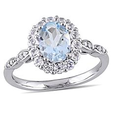 1.68ctw Aquamarine, White Zircon and Diamond 14K Ring