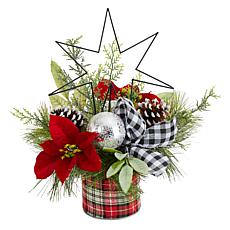 """17"""" Holiday Winter Poinsettia, Greenery and Pinecones"""