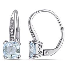 1.74ctw Cushion-Cut Aquamarine and Diamond 10K Earrings