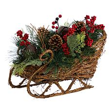 """18"""" Christmas Sleigh with Pine, Pinecones and Berries"""