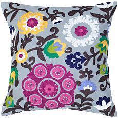 "18"" x 18"" Bright Botanicals Pillow - Gray/Raspberry"