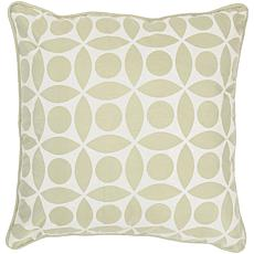 "18"" x 18"" Circle Design Pillow - Sage/Off-White"