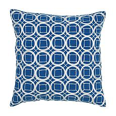 "18"" x 18"" Circles and Squares Pillow - Cobalt Blue/White"