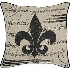 """18"""" x 18"""" Vintage Fleur-de-Lis Pillow - Beige/Black"""