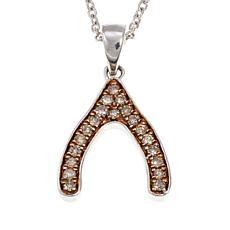 ".18ctw Champagne Diamond Wishbone Pendant with 18"" Chain Necklace"