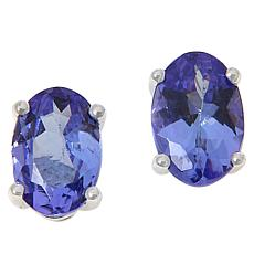 18K White Gold Oval Tanzanite Stud Earrings