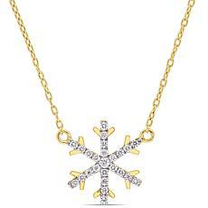 18K Yellow Gold .16ctw Diamond Snowflake Necklace