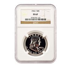 1963 PF67 NGC Benjamin Franklin 90% Silver Half Dollar