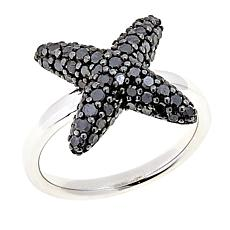 "1ctw Colored Diamond Sterling Silver ""X"" Ring"