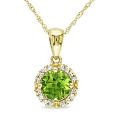 1ctw Peridot and White Diamond 10K Gold Pendant