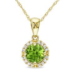 1ctw Round Peridot and White Diamond 10K Yellow Gold Pe