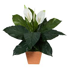 2 Ft. Spathiphyllum Artificial Plant in Terra-Cotta Planter