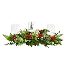 """20"""" Holiday Winter Greenery and Berries Triple Candle Holder"""