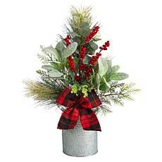 """20"""" Holiday Winter Greenery, Pinecone and Berries Table"""