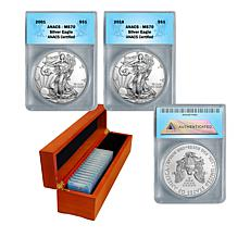 2001-2016 MS70 ANACS 16-Coin Silver Eagle Dollar Set