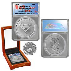 2016 MS70 FDOI LE 743 Superman S-Shield $5 Silver Coin