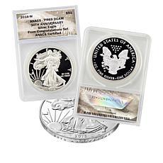 """2016-W PR69 DCAM """"Congratulations"""" 30th Anniversary Silver Eagle Coin"""