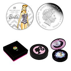 2019 Barbie 60th Anniversary Colorized Tuvalu $1 Silver Coin