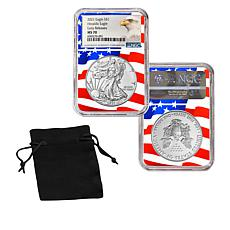 2021 MS70 NGC Early Releases Silver Eagle Dollar with Flag Core