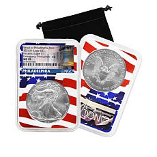 2021 P-Mint NGC MS70 Emergency Silver Eagle Dollar Coin with Flag Core