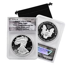 2021-W PR70 ANACS First Strike Congratulations Set Silver Eagle Coin