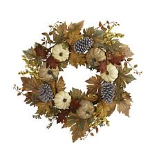 24 in. Fall Pumpkins, Pine Cones and Berries Artificial Wreath