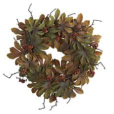 24 in. Fatsia with Berries Autumn Artificial Wreath