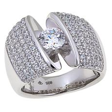 2.41ctw Absolute™ Sterling Silver Pavé Tension-Set Ring
