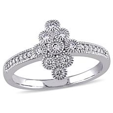 .24ctw Diamond 14K White Gold Elongated Cluster Ring