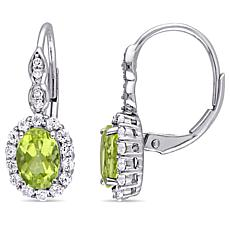 2.52ctw Peridot, White Zircon and Diamond 14K Earrings