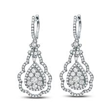 2.5ctw Diamond Scalloped Doorknocker 14K White Gold Earrings